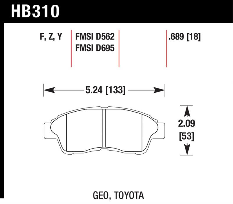Hawk Performance Disc Brake Pad Toyota Front - HB310F.689
