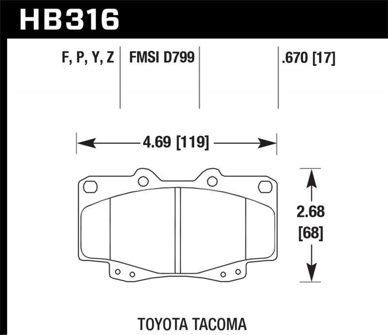 Hawk Performance Disc Brake Pad Toyota Tacoma Front 1999-2001 - HB316F.670