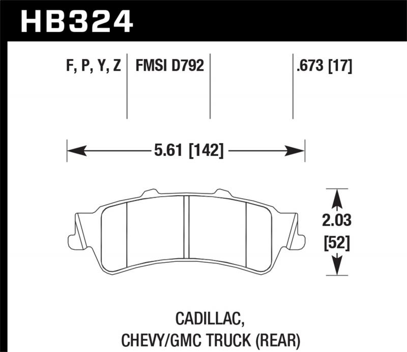 Hawk Performance Disc Brake Pad Rear - HB324F.673