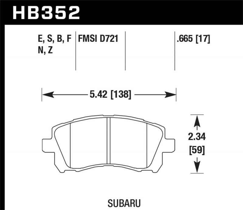 Hawk Performance Disc Brake Pad Subaru Front - HB352F.665
