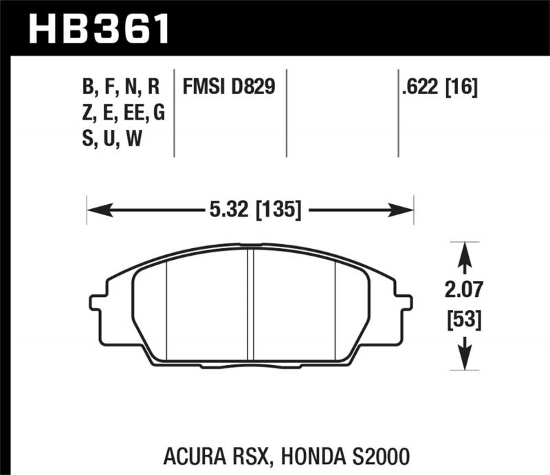 Hawk Performance Disc Brake Pad Front - HB361N.622