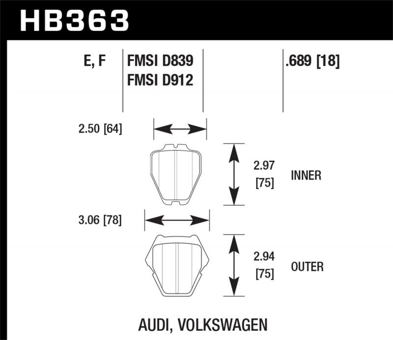 Hawk Performance Disc Brake Pad Front - HB363F.689A