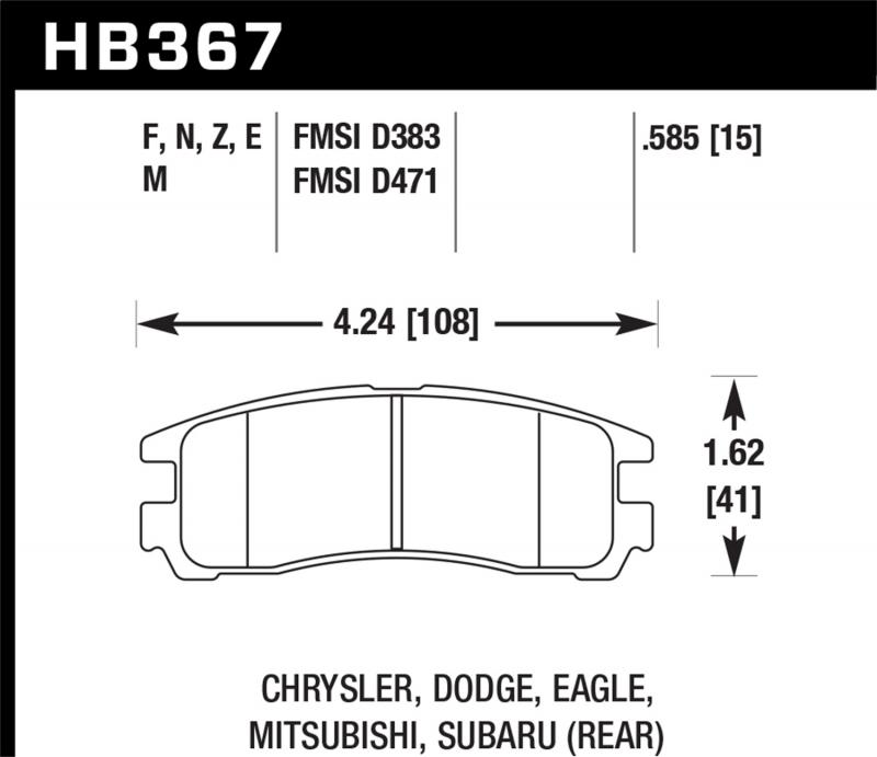 Hawk Performance Disc Brake Pad Rear - HB367F.585