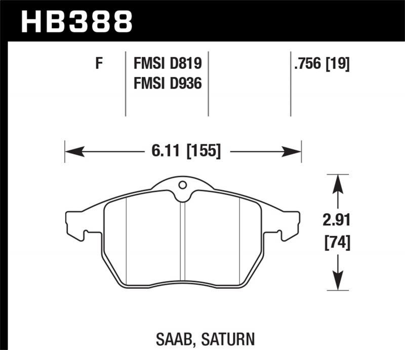 Hawk Performance Disc Brake Pad Saab Front - HB388F.756