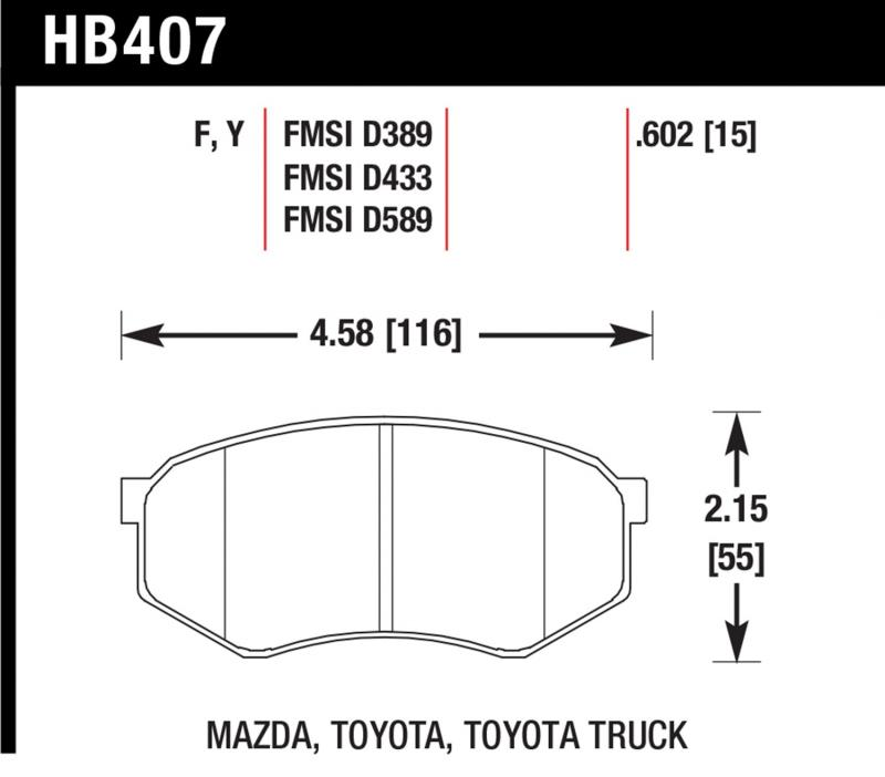 Hawk Performance Disc Brake Pad Toyota Front - HB407F.602