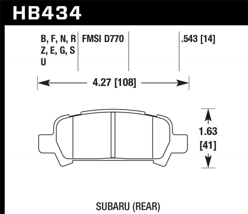 Hawk Performance Disc Brake Pad Subaru Rear - HB434F.543