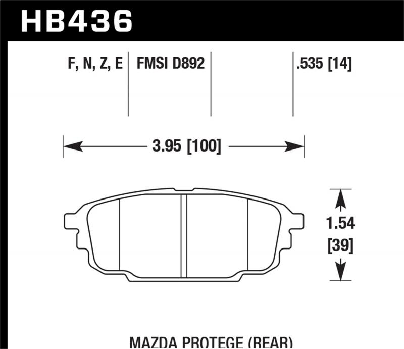 Hawk Performance Disc Brake Pad Mazda Rear - HB436F.535