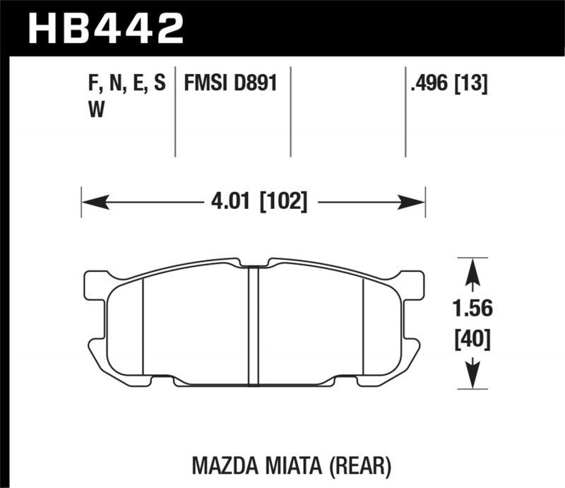 Hawk Performance Disc Brake Pad Mazda Miata Rear 2001-2005 1.8L 4-Cyl - HB442F.496