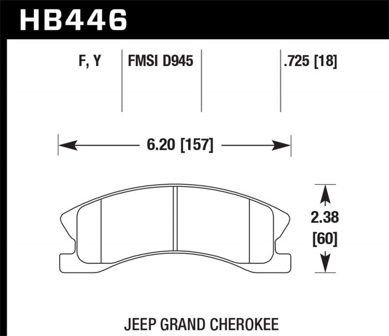 Hawk Performance Disc Brake Pad Jeep Grand Cherokee Front 1999-2004 - HB446F.725
