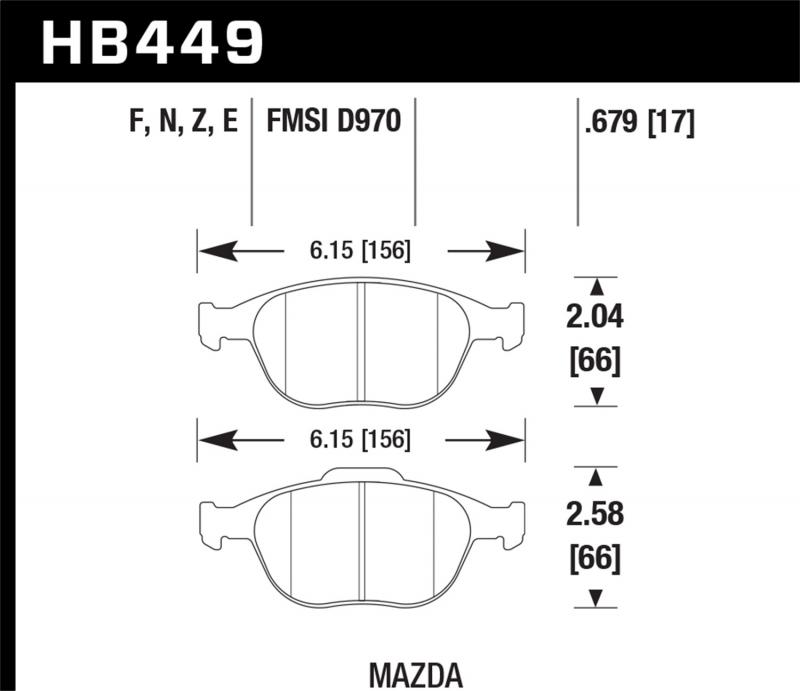 Hawk Performance Disc Brake Pad Ford Focus Front 2002-2004 2.0L 4-Cyl - HB449F.679
