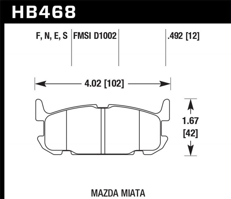 Hawk Performance Disc Brake Pad Mazda Miata Rear 2004-2005 1.8L 4-Cyl - HB468F.492