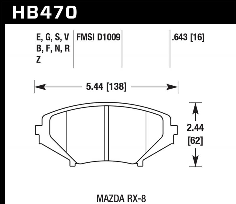 Hawk Performance Disc Brake Pad Mazda RX-8 Front 2004-2011 - HB470F.643