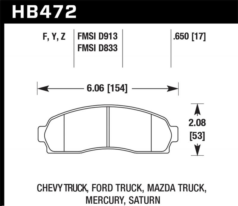 Hawk Performance Disc Brake Pad Front - HB472F.650