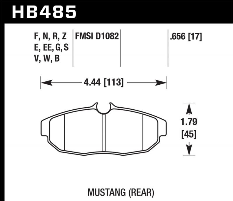 Hawk Performance Disc Brake Pad Ford Mustang Rear 2005-2014 - HB485F.656