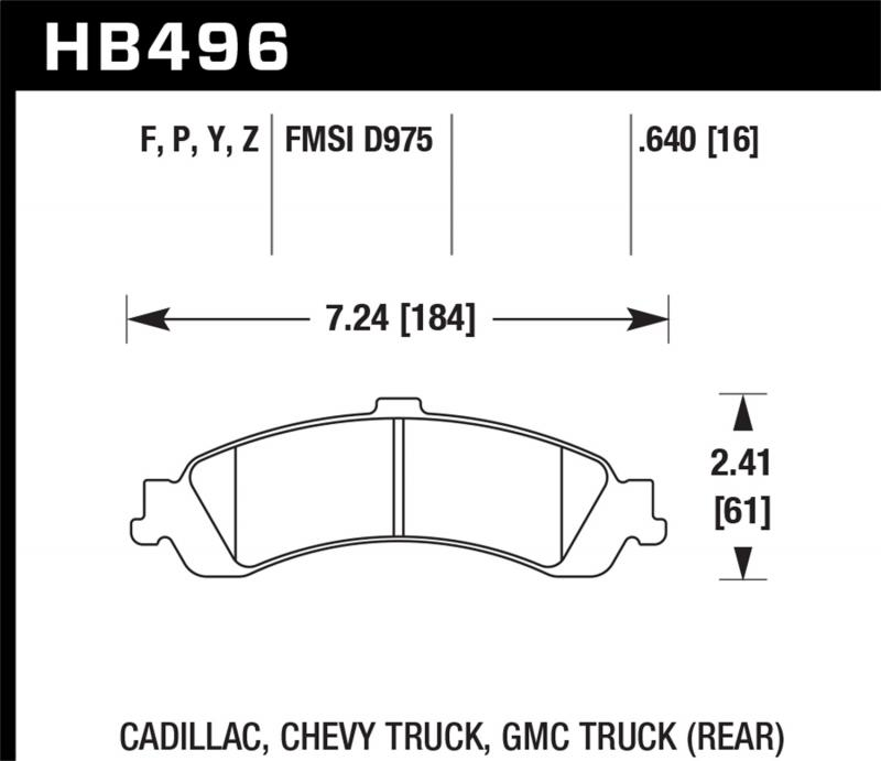 Hawk Performance Disc Brake Pad Chevrolet Rear - HB496F.640
