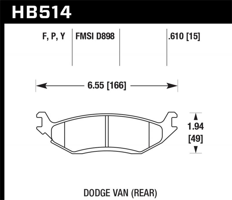Hawk Performance Disc Brake Pad Dodge Ram 1500 Rear 2006-2007 5.7L V8 - HB514F.610