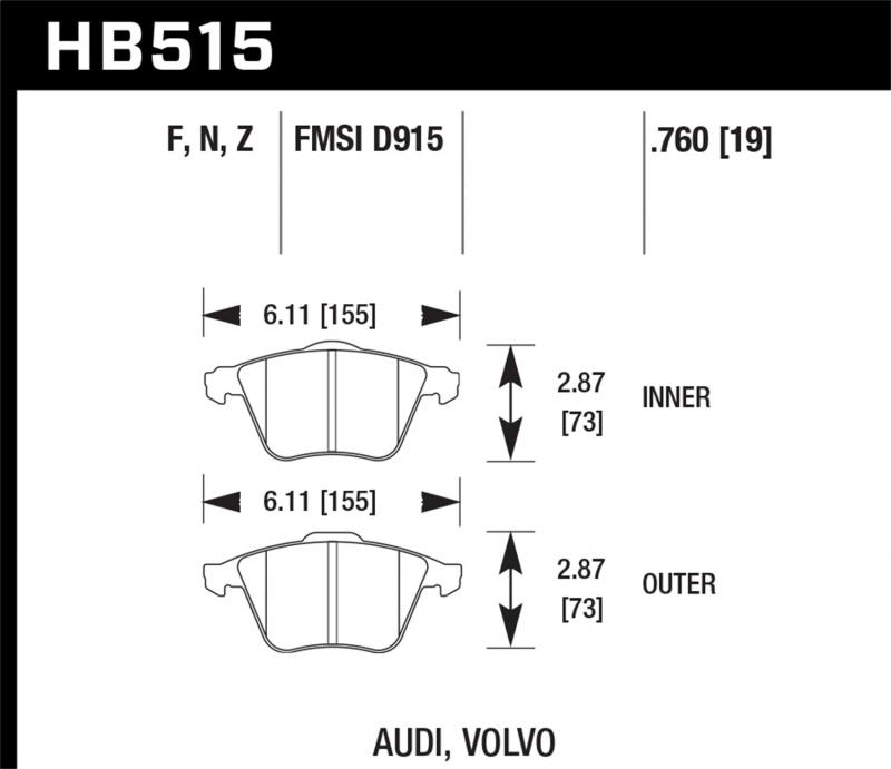 Hawk Performance Disc Brake Pad Front - HB515F.760