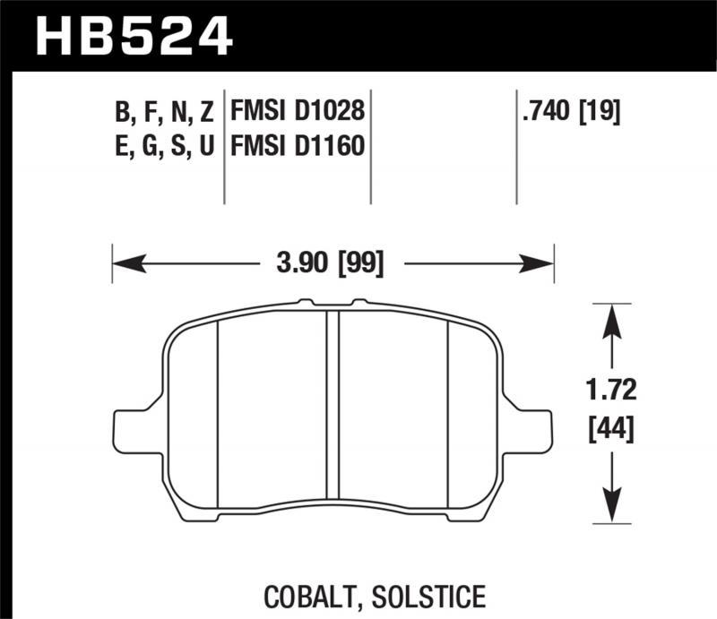 Hawk Performance Disc Brake Pad Front - HB524F.740