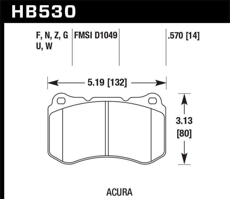 Hawk Performance Disc Brake Pad Acura TL Front 2007-2008 3.5L V6 - HB530F.570