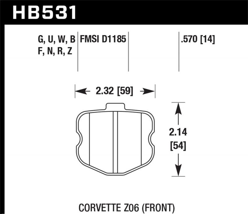 Hawk Performance Disc Brake Pad Chevrolet Corvette Front 2006-2013 - HB531F.570
