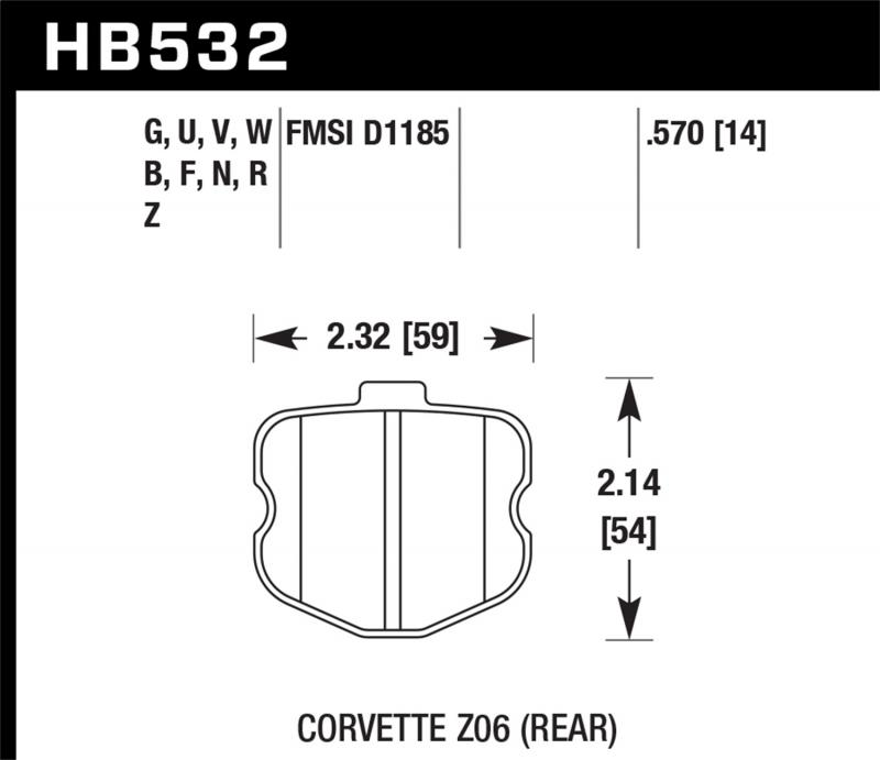 Hawk Performance Disc Brake Pad Chevrolet Corvette Rear 2006-2013 - HB532F.570