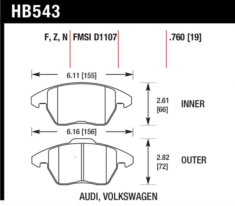 Hawk Performance Disc Brake Pad Front - HB543F.760