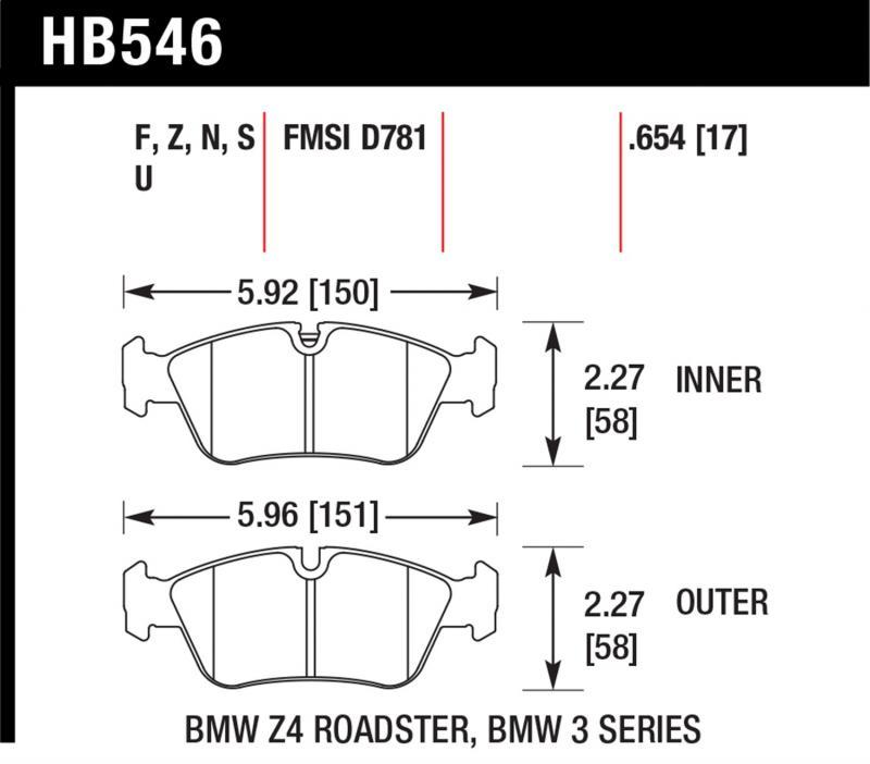 Hawk Performance Disc Brake Pad BMW Front - HB546F.654