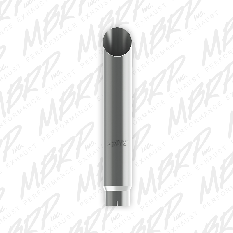 MBRP Exhaust 1 pc Stack 6in. Angle Cut 36in. Mirror Polished T304; 5in. inlet