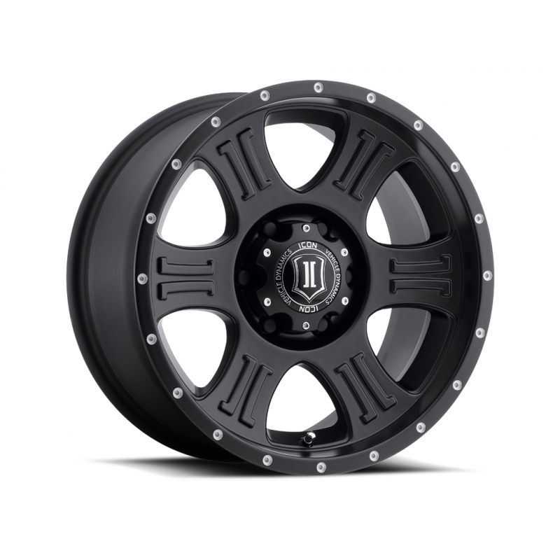 ICON Alloys ICON ALLOY SHIELD SAT BLK 17 X 8.5 W/ 6 ON 5.5 BOLT CIR