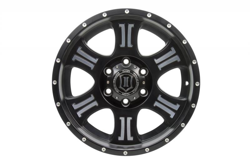 ICON Alloys ICON ALLOY SHIELD SAT BLK MACH FACE 17 X 8.5 W/ 5 ON 5 BOLT CIR