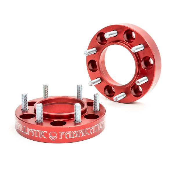 "Ballistic Fabrication Wheel Spacers 6 on 5.5"" x 1.25"" thick - Anodized Red, Made in USA"