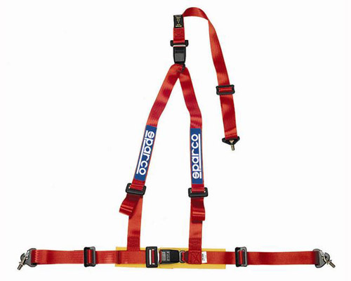 Sparco 2 Inch Tuner 3-Point Double Buckle Harness Red