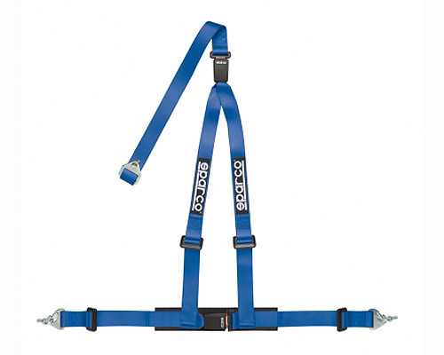 Sparco 2 Inch Tuner 3-Point Double Buckle Harness Blue